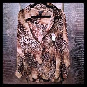 NWT Giraffe 🦒 Print Silk Button Down Blouse XL